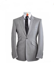 Wholesale Light Grey Suit Purple Tie - Wholesale-New Style Two Buttons Light Grey Groom Tuxedos Groomsmen Mens Wedding Suits Prom Bridegroom (Jacket+Pants+Tie) NO:733