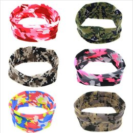 Wholesale Camouflage Hair - New Baby Girls Camouflage Bunny Ear Headbands Newborn Infants Elastic Bow Hairbands Kids Cross Knot Headwear Hair Accessories 6Colors KHA96