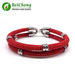 Wholesale Chain High Grade Steel - BC Rock Boy Cruel Black Stingray Bracelet Silver Round Beads Bracelet Genuine High Grade Stingray Bracelet