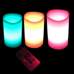 Wholesale Led Candle Light Colour - 3 x Colour Changing led candle Scented Flameless Wax Candles with Timer &Remote christmas candle(with Battery)