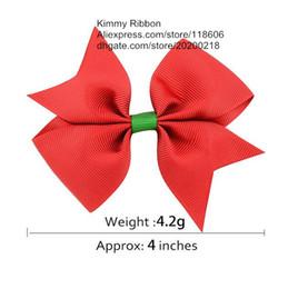 Wholesale China Hair Ribbon - 200pcs Cheap Christmas Bow Hair clip Red Green Ribbon Barette from China Manufacture
