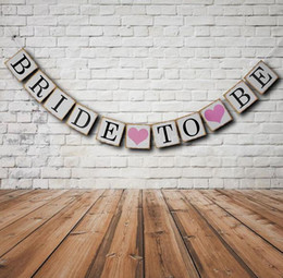 Wholesale Burlap Bunting - Bridal Shower Bunting Banner Hen Night BRIDE TO BE Banners Burlap Rustic Vintage Party Hanging Decoration flags festive supplies hot gift