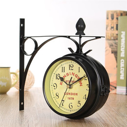 Wholesale Double Wall Clock - Charminer Vintage Decorative Double Sided Metal Wall Clock Antique Style Station Wall Clock Wall Hanging Clock Black