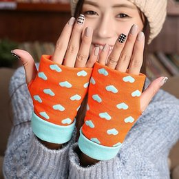 Wholesale Types Fashion Gloves - 2017 New Style Thick Warm Winter Love Knitting Mittens Fashion Office Typing Half Gloves For Girl Free Shipping