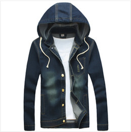 Wholesale Vintage Hooded Sweatshirts - Fall-2015 New Large Size M - 5 xl Fashion Men's Jackets Denim Jacket Hat Removable Hooded Jeans Jacket Men Hoodies And Sweatshirts
