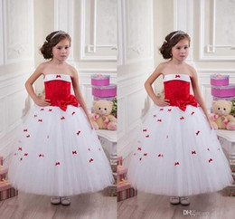Wholesale Strapless Wedding Dresses Vests - Flower Girl Dresses Strapless Red Bow Ankle Length Girl Birthday Party Christmas Dresses Children Formal Wear Zipper Girls Pageant Gowns44