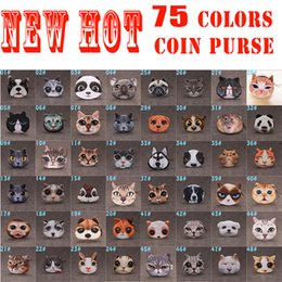 Wholesale Cluth Purse - 2016 New 3d Printing Dogs & Cats Coin Purses For Kids 75 Colors Multifunction Animals Print Cluth Bags Women Plush Mini Wallets Girls Pouch
