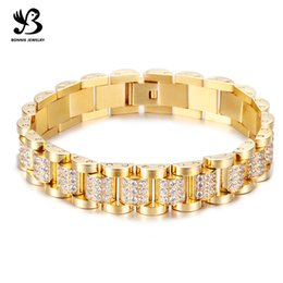 Wholesale Chain Watches For Men - Full Rhinestone Watch Band Bracelet Gold Plated Chain Bracelets Jewelry for Men and Women Free Shipping SB01771