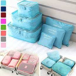 Wholesale Bras Portable Travel - 6 Pcs Set Travel Luggage Storage Bag Clothes Storage Organizer Portable Cosmetic Bags Bra Underwear Pouch Storage Bags 8 Color YYA285