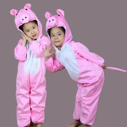 Wholesale Halloween Pig Costume - Pink Pigs Costumes For Kids Plush One piece Rompers Children Cartoon Animal Cosplay Role Play Stage Performance Halloween Christmas Party
