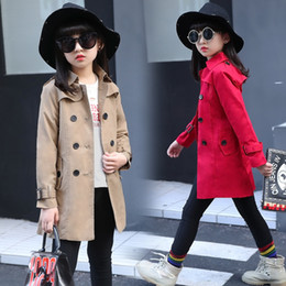 Wholesale Classic Khaki Trench Coat - Girls jacket coat England style Outerwear Khaki red for 5 6 8 9 10 11 12 years kids Double breasted belt Classic autumn Trench