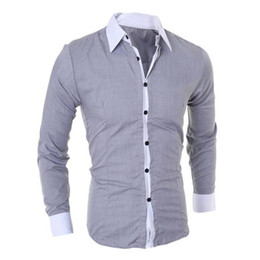 Wholesale turndown collar dress shirt - Men's Fashion 2018 Long Sleeved Shirt Turndown Collar Patchwork Casual Slim Business Dress Shirt Tops