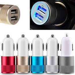 Wholesale Car Charger Amp - Metal Dual USB Port Car Charger Universal 12 Volt   1 ~ 2 Amp for Apple iPhone iPad iPod   Samsung Galaxy   Motorola DHL Free CAB114