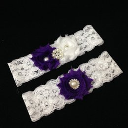 Wholesale Purple Wedding Garters - Wholesale-Purple Flower Lace Wedding Garter Set Vintage Rhinestone Pearl Beaded Bridal Garter