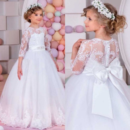 Wholesale Little Bride Dresses Sleeves - Charming 2016 Princess Flower Girl Dresses A Line Puffy Tulle Sheer Jewel Neck Illusion Sleeves Lace Appliques Little Bride Gown Bow Sash