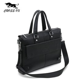 "Wholesale 14 Laptop Briefcase Shoulder Bag - Wholesale-CROSS OX 2016 Men's Genuine Leather Handbags For Men Business Fashion 14"" Laptop Bag Portfolio Briefcase Shoulder Bag"