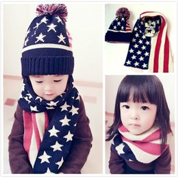 Wholesale Korean Model Boy Fashion - 2017 Korean version of the autumn and winter children star models paternity hat scarf big ball wool hat scarf suit