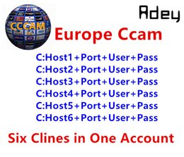 Wholesale Account Accounting - 1 Year CCcam Europe 6 Clines Server HD 12 Months account for Spain UK Germany French Italy Poland Satellite Decoder with AV Cable