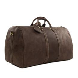 Wholesale Vintage Duffle Bags - Wholesale- ROCKCOW Large Vintage Retro Look Genuine Leather Duffle Bag Weekend Bag Men's Handbag 12027