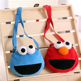 Wholesale Sesame Street Bags - 2016 Hot sale Sesame Street Baby Toddler Plush Messenger Bag Cartoon satchel Elmo Cookie Monster Coin Purse C496