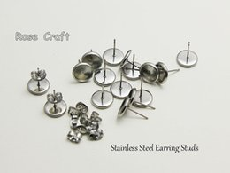 Wholesale Earrings Blank Stud - 100pcs Stainless Steel Earring Studs,Earrings Blank Earring Base, Buttons; Bezel Setting Tray for Cameo Cabochons