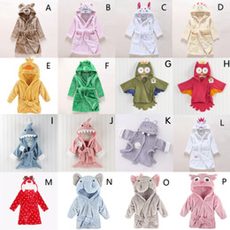 Wholesale Cotton Flannel Nightgowns - Baby thick cotton flannel nightgowns child night-robe kids bathrobe cute cartoon bath towel hooded kids warm winter animal
