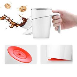 Wholesale Green Travel Mugs - 4 Colors 470ml Creative Double Wall Stainless Steel Mug Flexible Cups Coffee Mugs Tumbler Cup Travel Mugs CCA7124 20pcs