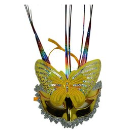 Wholesale Light Up Masquerade Masks - Ladies Women Flash LED Light Up Butterfly Masks Mask for Mardi Gras Masquerade Party Halloween Carnival Festive Supplie