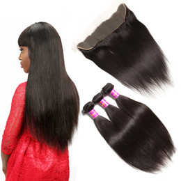 Wholesale Hair Extensions Dhl Free - 7A Straight Hair Weft With Lace Frontal Brazilian Indian Malaysian Peruvian Unprocessed Human Hair Natural Color Extension DHL Free Shipping