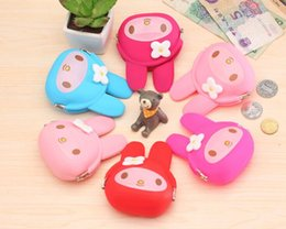 Wholesale Melody Case - Wholesale- 1X Random Color NEW Kawaii 10*8CM Melody Rabbit - Silicone HAND Coin Purse & Wallet Pouch Case BAG ; Makeup Holder BAG Handbag