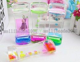 Wholesale Hourglass Liquid - Floating Color Mix Illusion Timer Liquid Motion Visual Slim liquid Oil Glass Acrylic Hourglass Timer Clock Ornament Desk MYY