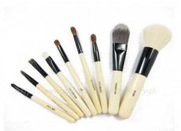 Wholesale Top Brand Bag Wholesale - TOP Quality! Professional 9 PCS set Cosmetics Makeup Brushes Set with Black Zipper Leather Bag, Brand Make Up Brushes