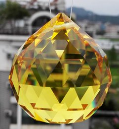 Wholesale Orange Crystal Faceted - AAA Quality 50mm K9 Orange Colour Crystal Faceted Ball Spheres Chandelier Replacement Garland Pendants