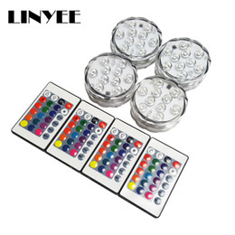 Wholesale Colour Change Candles - High Brightness Led Waterproof RGB Submersible Light 10-LED Decoration lamp Underwater Colour Changing Lights AA Battery with Remote Control