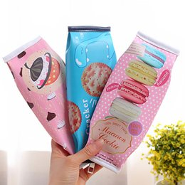Wholesale Cookie Girl - Wholesale-1 x kawaii Macaron Cookie pencil case PU leather school pencil bag for girl stationery estojo escolar school supplies