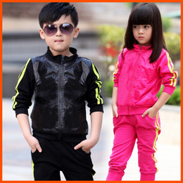 Wholesale Shampooers Sports - children twinset sportswear sport set jogging jacket + pants for boys girls tracksuits sport set shampooers clothes spring autumn clothing