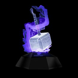 Wholesale Vision Gifts - Super hero Thor hammer touch 3D vertical light USB vision lamp Nightlight gifts atmosphere lamp