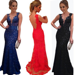 Wholesale Knee Length Sexy Trumpet Wedding - 2016 Women Dress New Trumpet Mermaid Bodycon Wedding Dress Sexy Lace Deep V Neck Backless Long evening Gowns Maxi Dresses to Party Vest