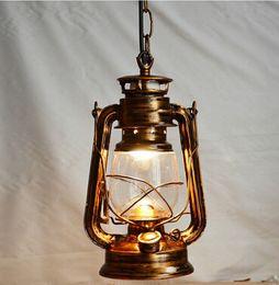 Wholesale Vintage Glass Hanging Lamps - Eu Barn Lantern nostalgic retro pendant light vintage creative kerosene lamp restaurant bar lantern lamp hanging light fixture