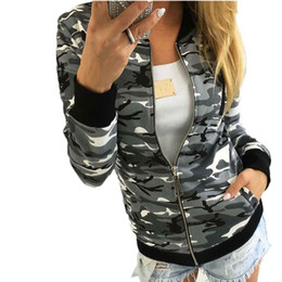 Wholesale girl army jacket - Wholesale- Casual Women Army Camouflage Print Bomber Jacket Lady Autumn Winter Basic Coat Girl Stand Collar Zipper Exercise Outerwear Sep26