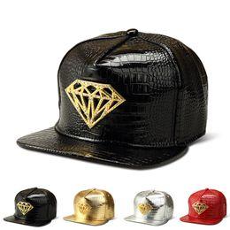Wholesale Vogue Snapback Hat - 2016 Vogue PU Leather Crocodile hip hop hats Gold Rhinestone Diamond Logo Snapback Men Women Gorras Hiking Baseball Caps
