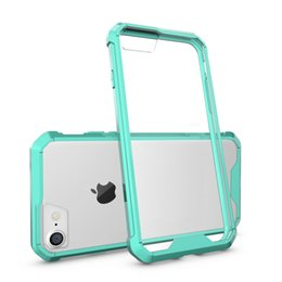 Wholesale cell phone cases abs - New cell phone case for apple iphone 7 6S plus acrylic PC 2 in 1 hybrid candy color bumper frame with opp packages