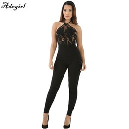 Wholesale Lace Rompers Xs - Wholesale- 2017 Women Bodycon Jumpsuits Black Lace Bodysuit Female Transparent Mesh Embroidery Rompers Flower Playsuits combinaison femme
