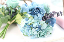 Wholesale wedding bouquets blue roses - Blue artificial rose bouquet wedding creative decorations diameter about 21cm include rose, hydrangea and berries free shipping WT037