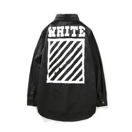 Wholesale Slim Denim Shirt - Newest OFF WHITE Long Shirts Jacket Men Women Hiphop Distressed Casual Fashion Denim Jacket Coats Outerwear Size S M L XL