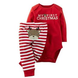 Wholesale Red Stripe Leggings - New Baby Cartoon red elk Christmas outfit Unisex long sleeve rompers +stripe leggings Infant Letter Print Bodysuits Size70-95