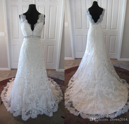 Wholesale Scalloped Bridal Gown - Lace V-neck Beaded Wedding Dresses All-over Scalloped Appliques Deep V-shaped Back Crystal Empire Waistline A-line Real Bridal Gowns 2016