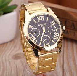 Wholesale Watch Sports Metal Luxury - 2016 luxury mens geneva stainless steel Watches metal alloy watch fashion casual roma design dial quartz dress sport Gold watches wholesale