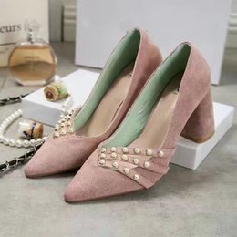 Wholesale High Heel Pumps Womens Shoes - Fashion Womens Pumps Wedding,Pearl 8CM High Heel For Womens Party Shoes,Luxury Suede Ladies Single Shoe Chunky Heel Size35-40