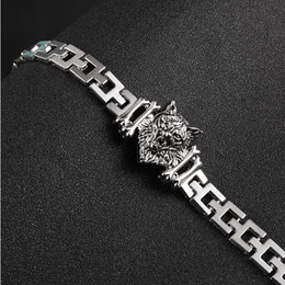Wholesale Indian Head Charms - New Arrival Men Stainless Steel Bracelet Byzantine Style Men Jewelry Accessories Male Leopard Wolf Head Charm Wristband
